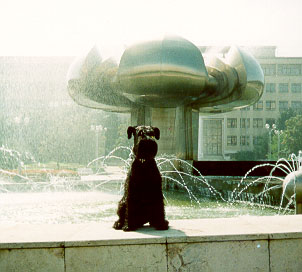 Bianca -after her show-took a swim in local fountain-Bratislava,SR 1999