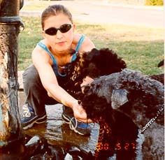 Hot summer day- natalia with Bianca and Argenta on the walk- May 2000